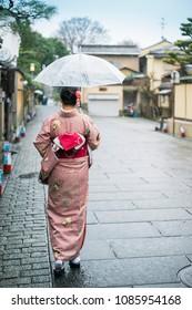 Tourist wear traditional Japanese clothing Kimono walking street.