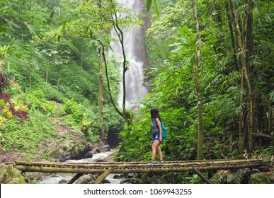 Tourist woman crossing a bamboo bridge near the Red Coral waterfall in the Munduk jungle, Bali, Indonesia
