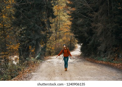 Tourist woman walks along the forest road