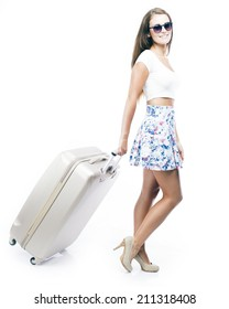 Tourist woman with wheel bag suitcase isolated white