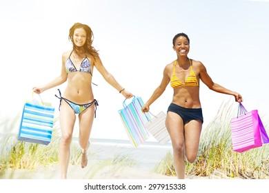 Tourist Women Shopping Summer Beach Concept