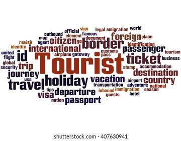 Tourist, word cloud concept on white background.