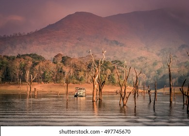 Touristic boat on the lake in the Periyar National Park, India
