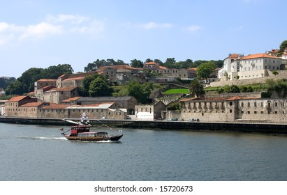 Touristic boat on the portugal river Douro in Porto