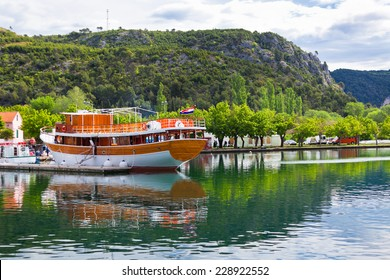 Touristic boat in Skradin, Croatia. Horizontal day shot