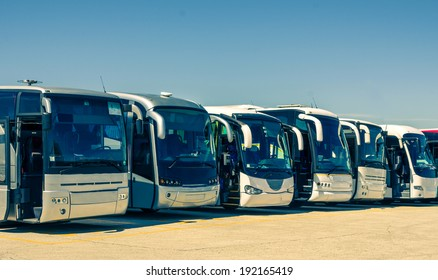 Touristic buses in a row