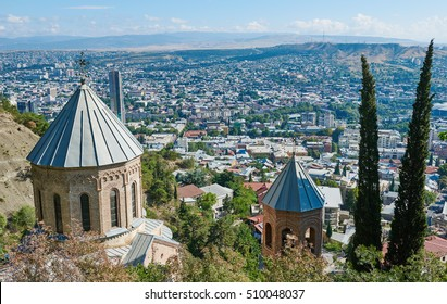 Touristic landmark in Tbilisi Georgia. Mama Daviti church at Mtatsminda
