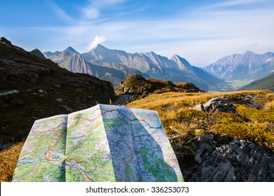 Touristic Map On Alps Mountain Sky Stock Photo (Edit Now) 336253073 ...