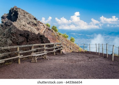 Touristic path at the top of volcano Mount Vesuvius, Italy