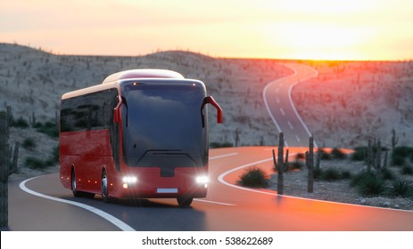 touristic red bus on highway. Fast driving. realistic 3d rendering.