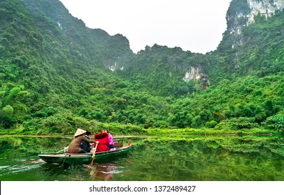 Touristic rowboat at the Trang An Landscape Complex in the Ninh Binh Province of Vietnam