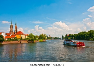 Touristic sailing on the Odra river, Wroclaw, Poland