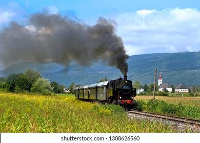 Touristic steam train in the Valley of Roses (Rosental), Carinthia, Austria