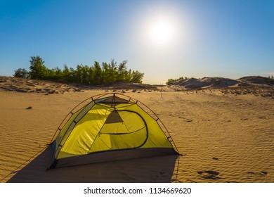 touristic tent among a sandy desert