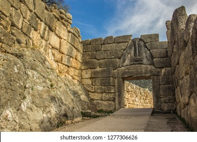 touristic world heritage site in Peloponnese peninsula Greece, Mycenae lions gate