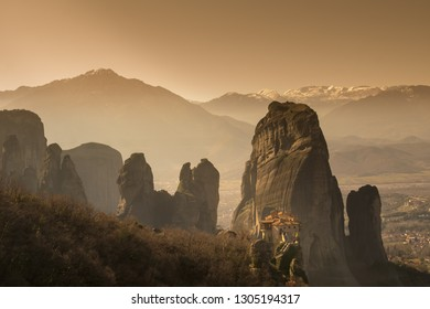 Tourists from all over the world at Meteora monasteries in Greece.