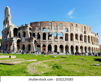 lot of tourists around the Colloseum in Rome