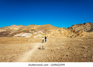 Tourists at Artists Palette, Death Valley, California, USA