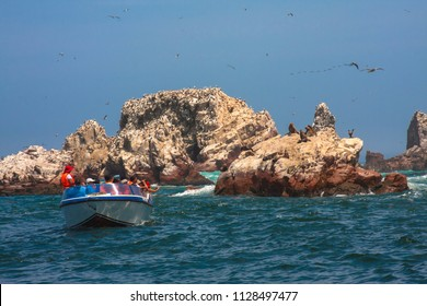 Tourists in the Ballestas Islands. Paracas March 2016, Peru.