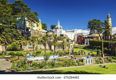 Tourists at Central Piaza of Portmeirion Village in North Wales, UK