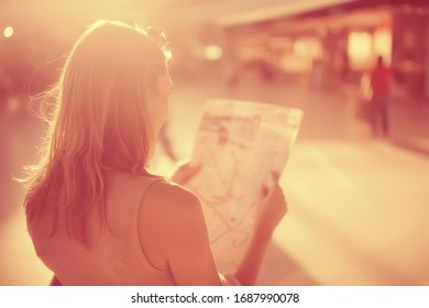 tourists in the city with a map, trip travel city map tourism