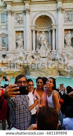 Tourists Clamor Get Selfie Famous Tourist Stock Photo (Edit Now
