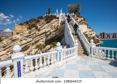 Tourists climbing the staircase at Balcon del Mediterraneo in Benidorm, Spain.