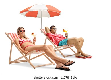 Tourists with cocktails sitting in deck chairs isolated on white background