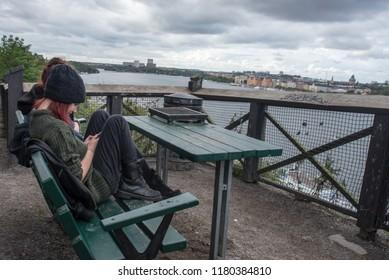 Tourists considering Stockholm, Sweden September 25, 2015