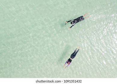 Tourists couple swimming in the sea background. - You can use for Holiday, Relax, Travel, Recreation or Vacation concept.