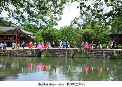 Tourists are crossing the Ogakgyo Bridge in the Gwanghanglu district of Namwon, Korea, where the Chunhyang Festival will be held on May 19, 2018.