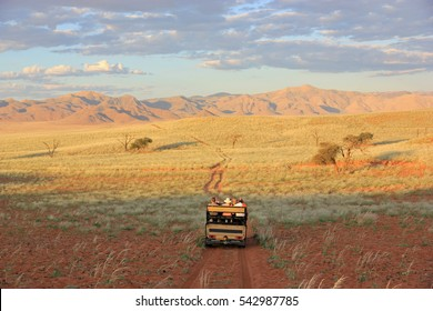 Tourists doing a safari in Namibia