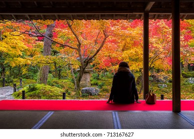 Tourists enjoy Autumn colorful of Japanese garden at Shisen-do Temple in Kyoto, Japan.