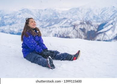tourists enjoy and happy time in snow in Gala Yuzawa snow location in japan