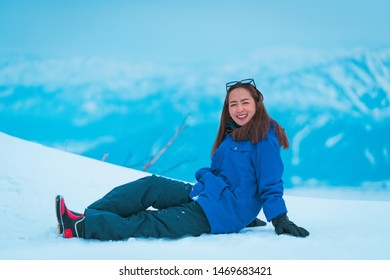 tourists enjoy and happy time in snow in Gala Yuzawa snow location