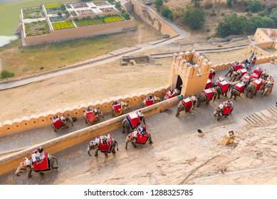 Tourists enjoy the ride on elephants at Amer Fort near Jaipur, Rajasthan, India