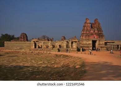 """Tourists entering Vijaya Vitthala temple complex, Hampi, Karnataka, India - 26th December 2017"""