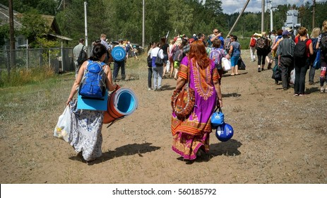 tourists at the festival of bard songs named Grushin, August 2, 2016 Samara, Russia