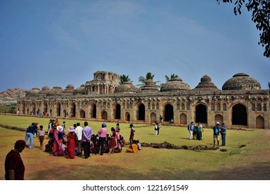 """Tourists gathered around Elephant Stable, Hampi, Karnataka, India - 27th December 2017"""