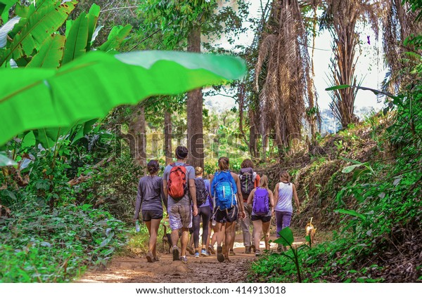 Tourists hiking in the deep jungle of the Khao Yai national park in Thailand , Asia