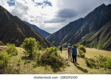 Tourists hiking the Inca Classic Trail in Peru.