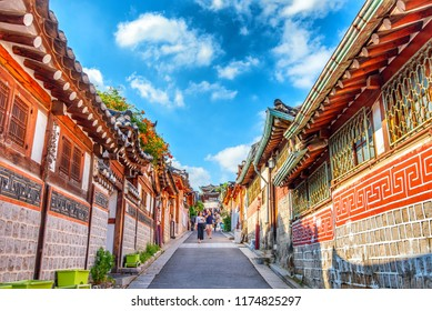 the tourists in holiday at bukchon hanok traditional village: 1 september 2018 seoul korea