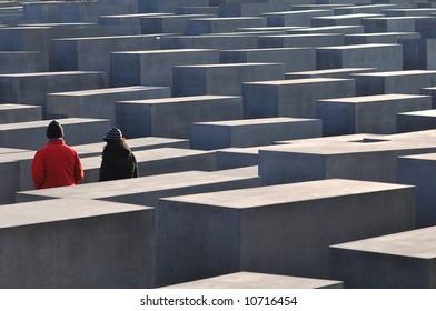 Tourists at Holocaust Memorial Berlin