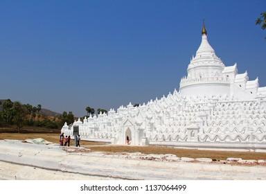 Tourists at Mya Thein Tan Pagoda ,Hsinbyume Myatheindan Pagoda.The large pagoda on the northern side of Mingus in Sagaing Region in Myanmar of Mondalay.