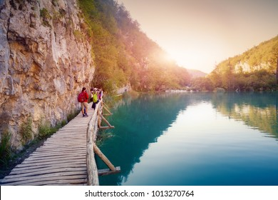 Tourists on Boardwalk in Plitvice Lakes National Park
