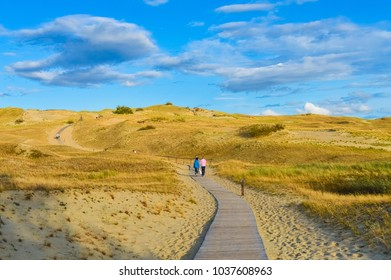 Tourists on the desert of the Curonian Spit, Lithuania