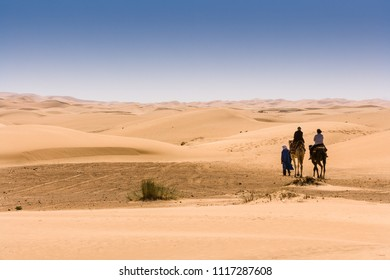 Tourists on dromedary near Merzouga in the desert, Hassi Labiad, Morocco