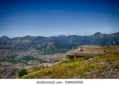 Tourists on the plaza of the Visitors Lodge at Mt St Helens Volcanic National Monument, Washington