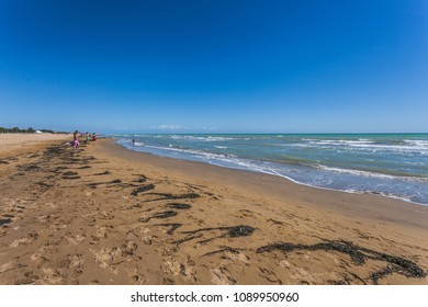 Tourists on a sandy beach with seaweed carried by the undertow, Bibione, Veneto, Italy