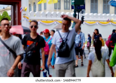 Tourists people walking around downtown Bangkok Thailand in casual